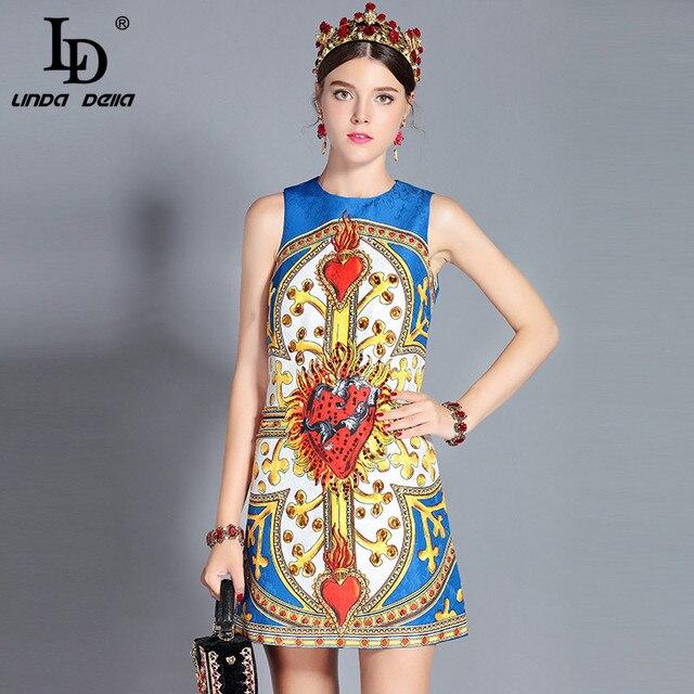 f5c93e170d9a4 US $50.99 |LD LINDA DELLA New 2018 Fashion Runway Summer Dress Women's  Sleeveless Tank Crystal Sequin Printed Mini Vintage Dress vestido-in  Dresses ...