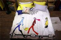 Moderno Modello Ragazze Stampato biancheria da letto pieno queen size completo copripiumino in cotone Egiziano biancheria da letto coperte 600TC 4-5 pz colore brillante