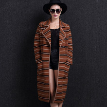 New Arrive Winter Europe Long Sleeve Mink Cashmere Coat Dust Coat Thicken Sable Flocking Coat
