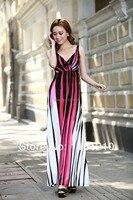 Hồng/trắng Mùa Hè Bohemia Phong Cách Maxi Dress Kỳ Nghỉ Bãi Biển Dress Cộng Với kích cỡ sundress thai sản thai mang thai ăn mặc