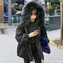 2016 Winter Jacket Women Coat Warm Detachable Big Faux Fur Collar Hooded Army Green Black Brand Design Parka Outwear