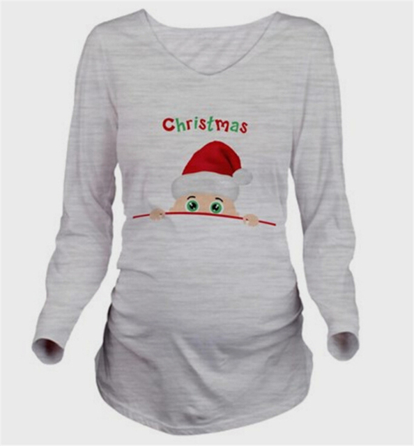 Cartoon  Funny Maternity Shirts Long Sleeve Pregnancy T shirt Maternity Tops T-shirts for Pregnant Women Autumn and winter