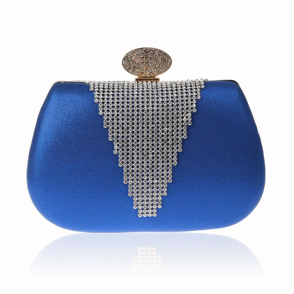 5d742b7c5 Das Mulheres azuis de Cetim Saco de Embreagem bolsa de Ombro bolsa Saco  Nupcial Do Casamento