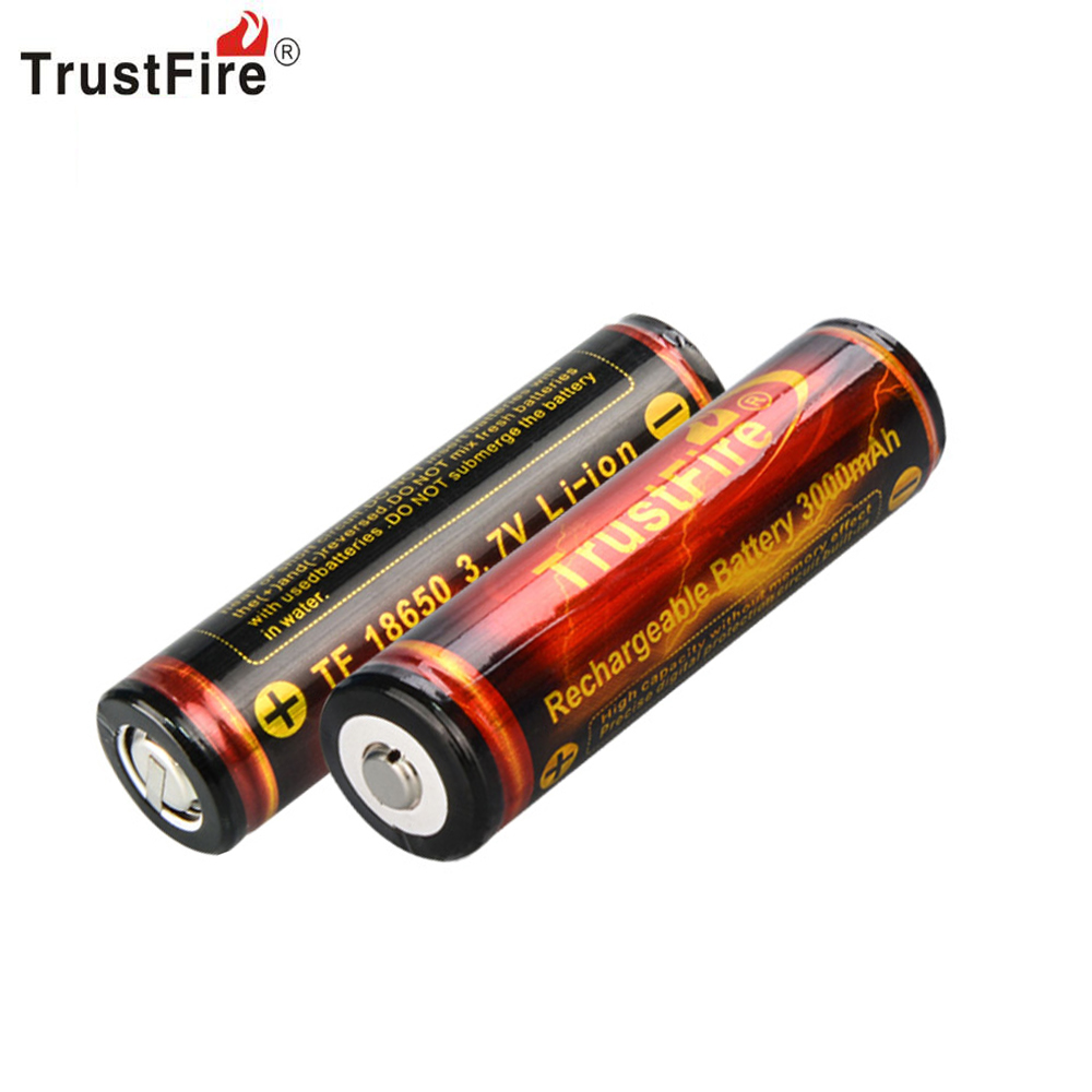 2PCS/LOT TrustFire Full Capacity 3000mAh 18650 3.7V Li-ion Rechargeable Battery with Protected PCB By Camera Torch Flashlight hot 4 20 pcs ycdc yellow shell gif 18650 3 7v high capacity rechargeable li ion battery for led flashlight torch power bank