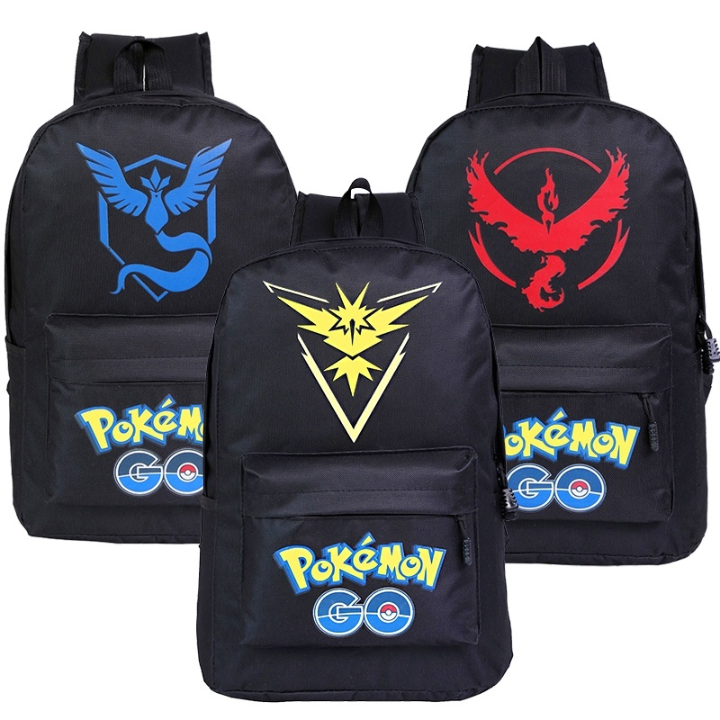 Pokemon Go Bag Team Valor Mystic Instinct  School Shoulders Bag Women Mens Girls Boys Canvas Backpacks BagsTravel Rucksack