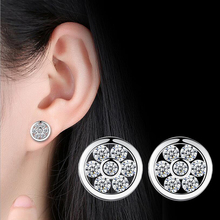 Micro Round CZ Crystal Stud Earrings for Women Female Silver Color AAA Cubic Zirconia Earring Jewelry Fashion