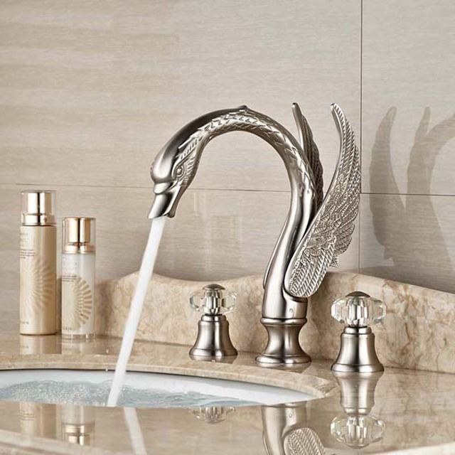 Crystal Handles Widespread Brushed Nickel Bathroom Faucet Vanity