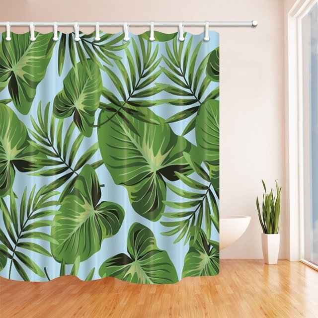 3D Digital Printing Tropical Plants Banana Leaves On Blue Shower Curtain Mildew Resistant Waterproof Polyester
