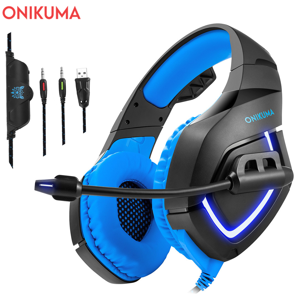 ONIKUMA PC Gaming Headset for PS4 XBOX One 3.5mm Stereo USB LED Headphones with Omnidirectional Microphone Volume Control for PC