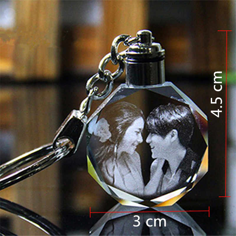 XINTOU Round Customized Cadre Photo Frame Mini Colorful Changing LED light Keychain DIY Picture Corner Albums Wedding gift