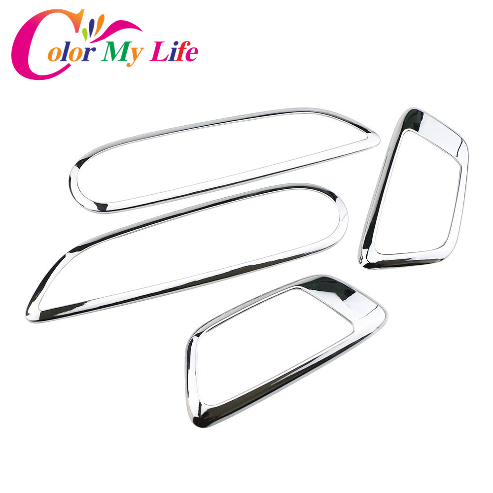 Color My Life Abs Chrome Inner Trim Door Hand Clasping Decorative Ring Sticker for Ford Ecosport Fiesta MK7 Auto Accessories-in Car Stickers from Automobiles & Motorcycles
