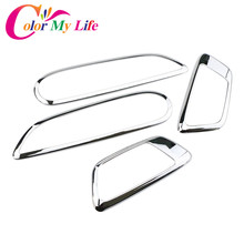 Color My Life Abs Chrome Inner Trim Door Hand Clasping Decorative Ring Sticker for Ford Ecosport Fiesta MK7 Auto Accessories