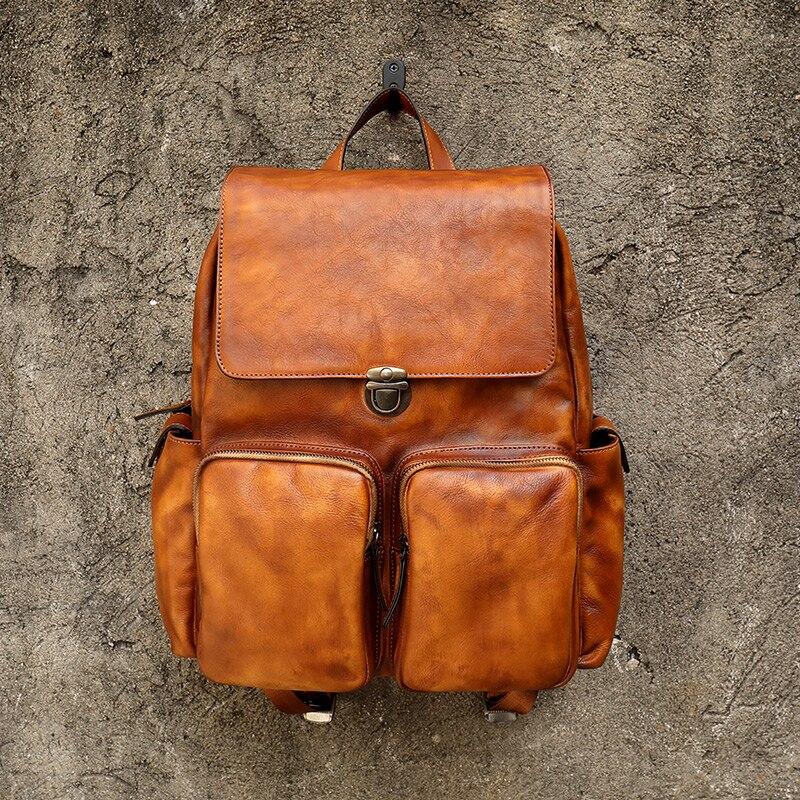 Men's Backpack Luxury Mens Cow Leather backpack Shoulder Bag Military Style Travel Bag
