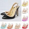 Las mujeres del Otoño Bombas Moda Sexy Zapatos de Tacones Altos 11 CM Moda Remaches Decoración de la Venta Caliente 2016 de Lujo de Marca Famosa estilo