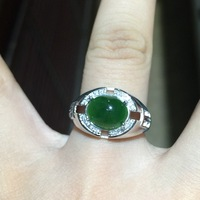 Free Shipping Natural Jasper 925 Sterling Silver Men Ring White Gold Color 8 10mm Gemstone Rings