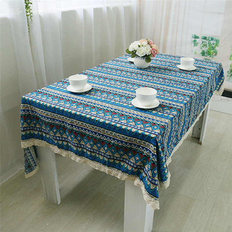 Print Cotton Fabric Dining Tablecloth Rectangle Table Cloth Household Cloth Hotel Restaurant Fabric Cover