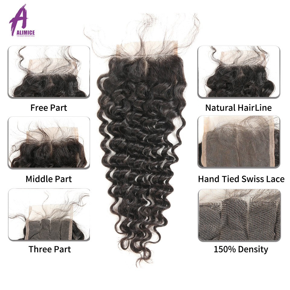 Brazilian Deep Wave Hair Weave 100% Human Hair Bundles With Closure - Mänskligt hår (svart) - Foto 5