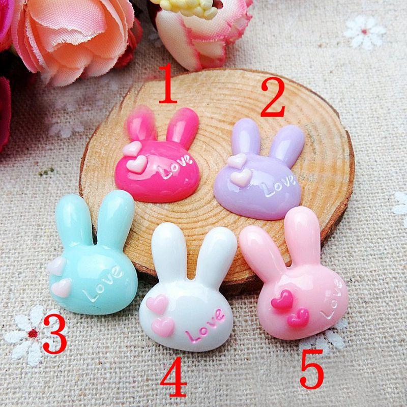 50 Pcs 5 color optional Rabbit ears Flower Resin Flatback Cabochon Scrapbook Embellishment DIY Phone Decoration 20mm 009005085