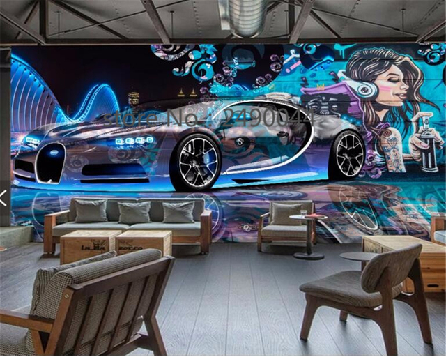 Beibehang Custom 3D Wallpaper Street Graffiti Sports Car Decoration TV Living Room Background Wall