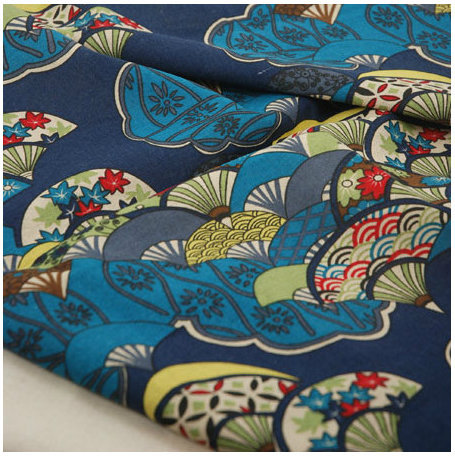 DIY Quilted Handmade Fabric Japanese Style Cotton And Linen Wall Painting Tablecloth Blue And