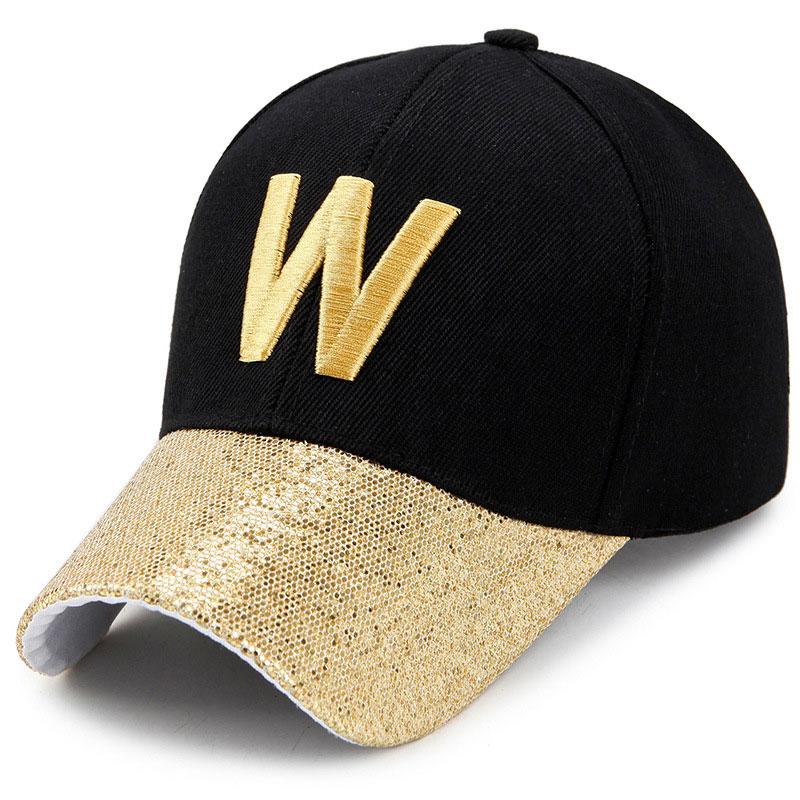 Fashion Bling Curved Baseball Cap Men Women Embroidery Letters W U Sparkly Snapback Hats Gold Silver Pink Blue Black bone para bordar