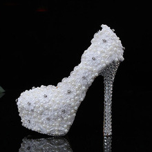 Newest white embroidery lace flowers Wedding Dress Shoes appliques pearls diamonds high crystals heels lace bridal shoes