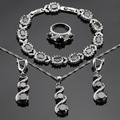 Black White AAA Stones Silver Color Jewelry Sets For Women Christmas Necklace Pendant Bracelets Earrings Rings Free Gift Box