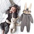Traje Da Menina Do Menino Macacão de Bebê recém-nascido Roupas de Bebê Vestido Da Menina De inverno do Velo Longo Da Luva Dos Desenhos Animados Com Chapéu Infantil roupas Quentes