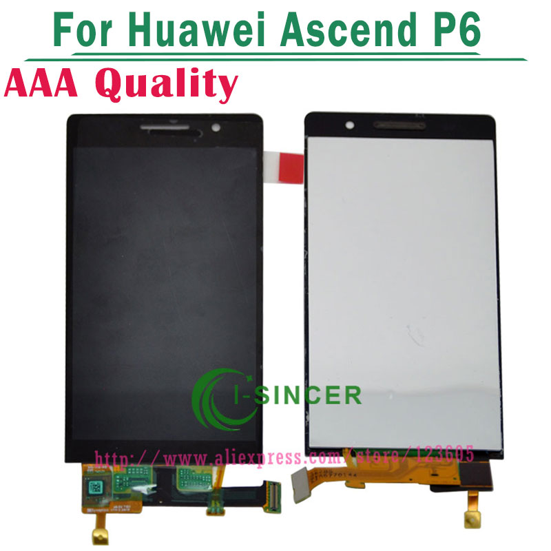 Black,White For Huawei Ascend P6 LCD Display Screen with touch screen digitizer Glass Assembly Free shipping 5lcd replacement for huawei ascend p7 lcd display with frame touch panel screen digitizer glass assembly black white tool