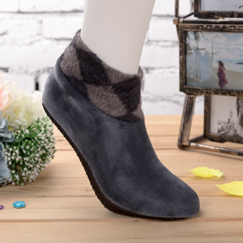 1 Pair New Fashion Winter Soft Warm Double-sided Plush Inverted Cashmere Home Floor Socks Thickening Thermal Non-slip Ankle Sock