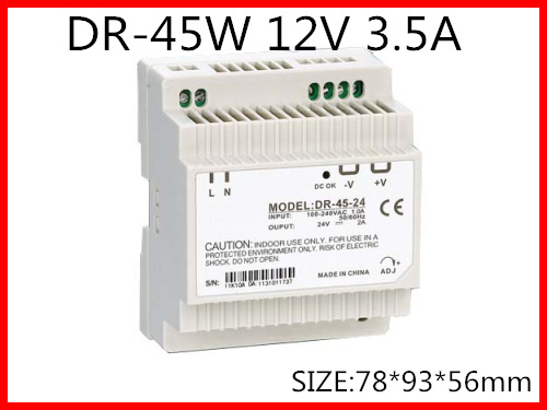 цена на DR-45-12 Din Rail Switching power supply 45W 12VDC 3.5A Output Free Shipping