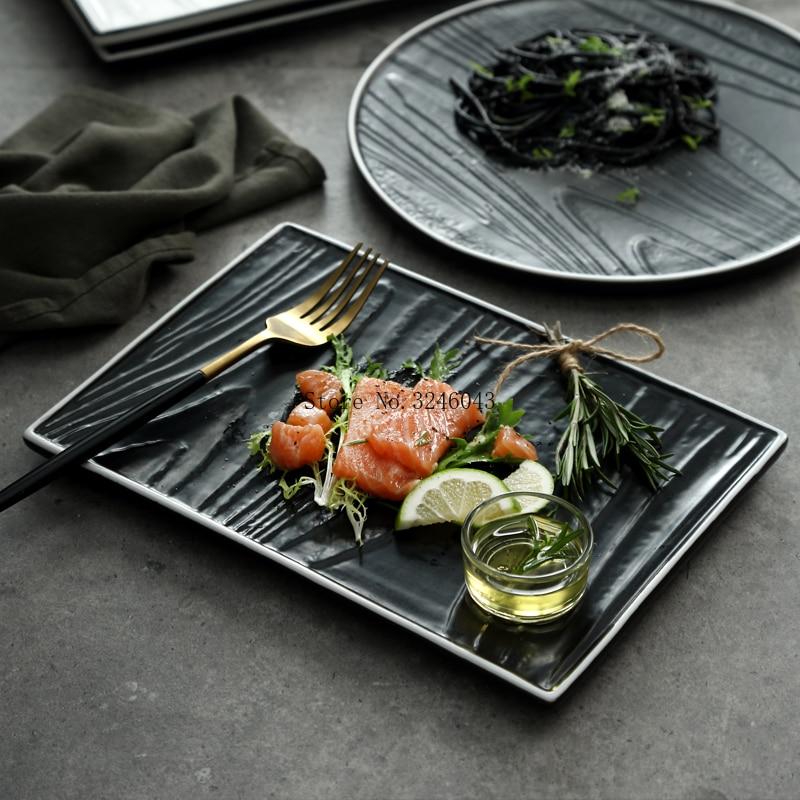 ><font><b>Nordic</b></font> <font><b>style</b></font> steak flat plates high-end Western restaurant plate Black and white rectangular <font><b>ceramic</b></font> dish household tableware