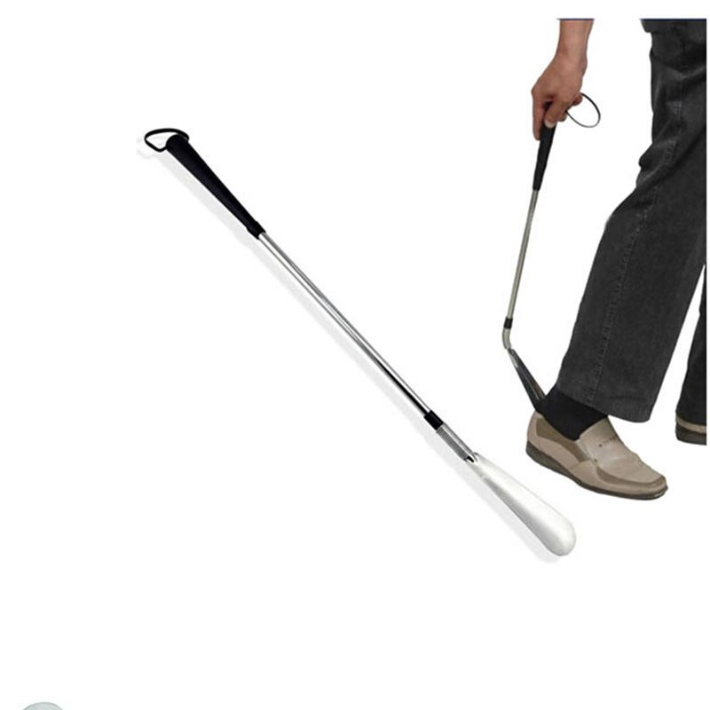 58cm Professional Silver Stainless Steel Long Hand Shoe Horns Flexible Long Handle Shoehorn Shoe Horn AID Stick