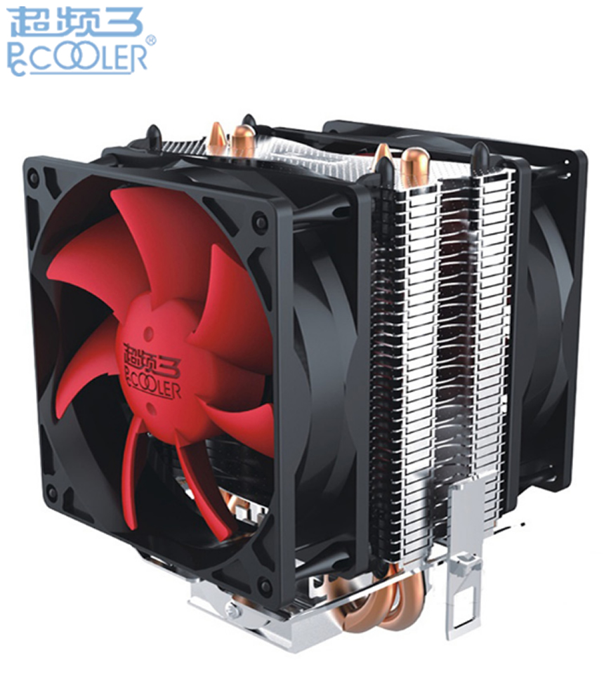 PcCooler Double fan CPU cooler fan pure cooper 2 heatpipe silent cooling radiator fan for LGA775 1151 1155 1556 FM2+ FM2 FM1 AM3 cpu cooler double heatpipe radiator cpu cooling fan for intel lga775 1155 1156 for amd am2 am2 am3 80 80 25 mm