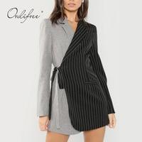 Ordifree 2019 Autumn Streetwear Fashion Women Striped Blazer Suit Jacket Coat Bleted Elegant Ladies Runway Blazer