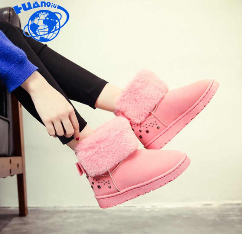 Huanqiu/2018 г.; новые модные женские зимние ботинки; студенческие ботинки на толстой подошве; бархатные короткие женские сапоги-трубы; ZLL343
