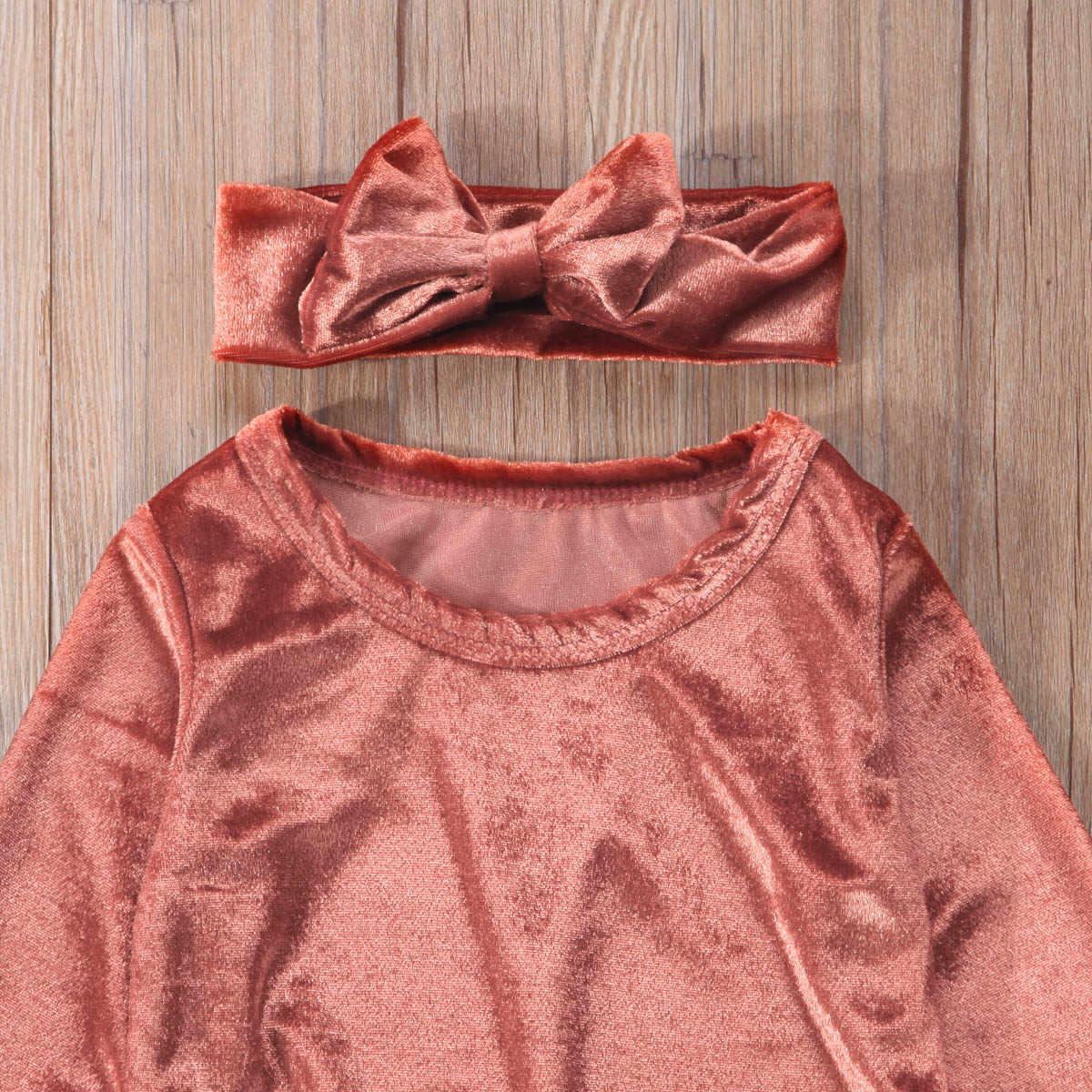 Весенний свитер для новорожденных девочек, одежда, бархатная футболка, топ + длинные штаны + набор из повязки на голову с бантом, для детей 0-24 месяцев