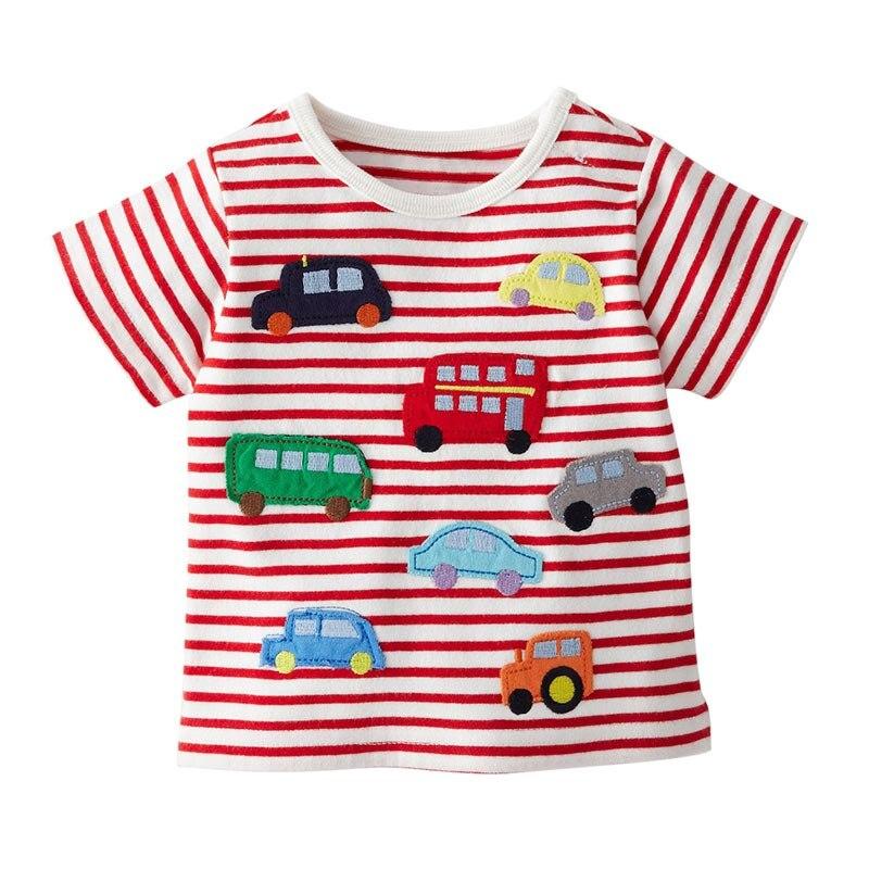 2018 детская футболка летние для мальчиков мультфильм футболка милый мультфильм автомобиль и шар карман Топы От 1 до 6 лет