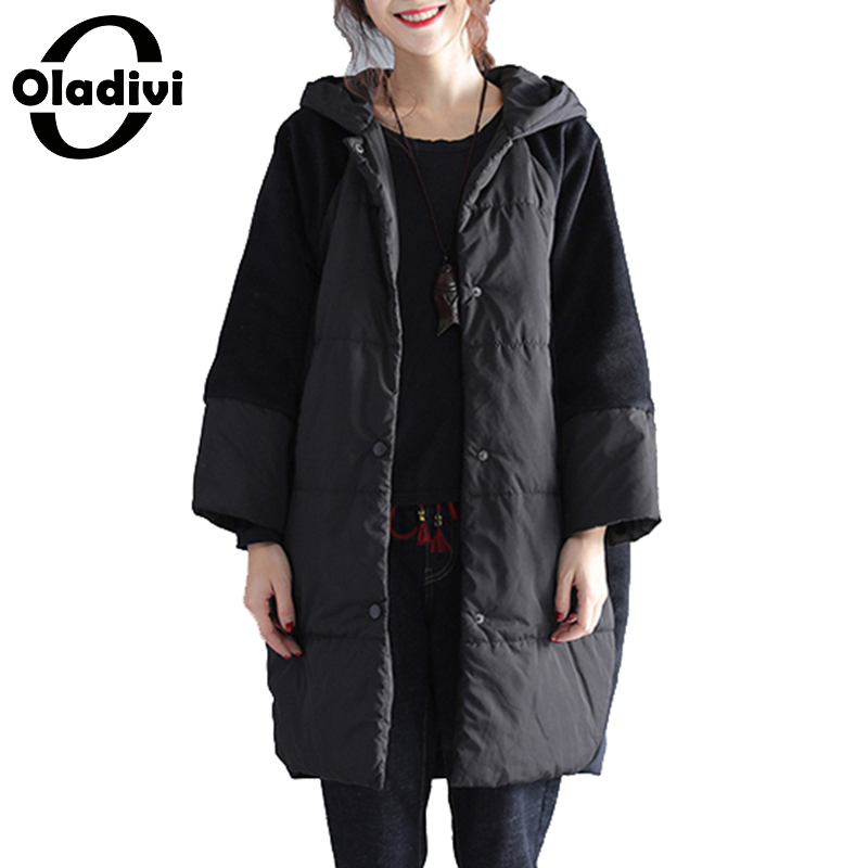 Oladivi Oversized Plus Size Women Cotton Padded Jacket Casual Loose Hooded Tops Coat Female Outerwear Ladies Warm Overcoat Black