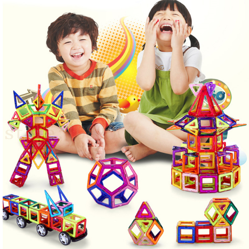 ФОТО 50PCS Magnetic Creative Building Blocks Educational Construction Kids build kits Toys Enlighten Plastic Magnetic Bricks Blocks