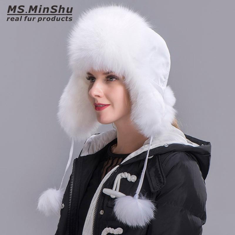 679295bd3 Ms.MinShu Fox Fur Hat Women's Genuine fox fur Trapper Hat with pom pom  Russian Fur Hat Unisex Winter Earflap Natural Fox Fur Cap