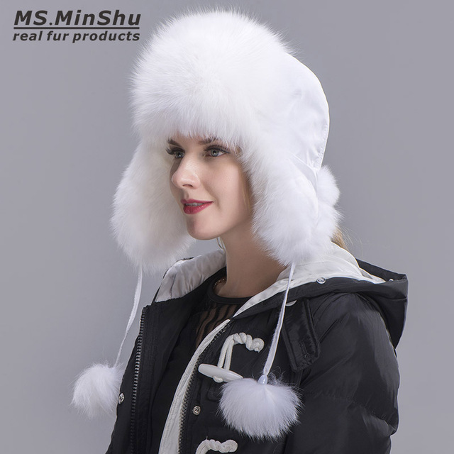 a9d943cd41c Ms.MinShu Fox Fur Hat Women s Genuine fox fur Trapper Hat with pom pom Russian  Fur Hat Unisex Winter Earflap Natural Fox Fur Cap