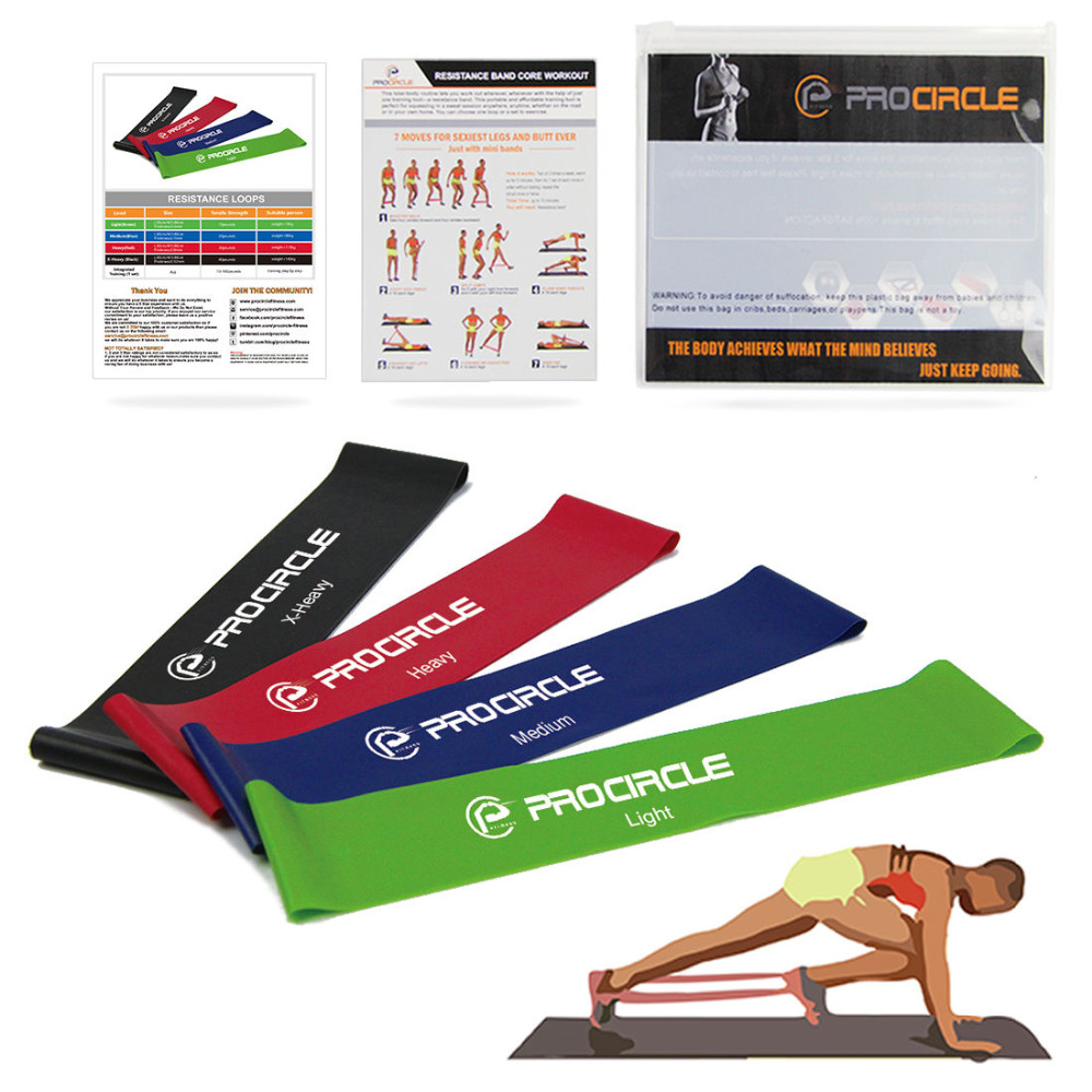 Procircle Resistance Loop Bands Set 100% Natural Latex Fitness Exercise Band for Yoga Strength Training Legs Arm Workout