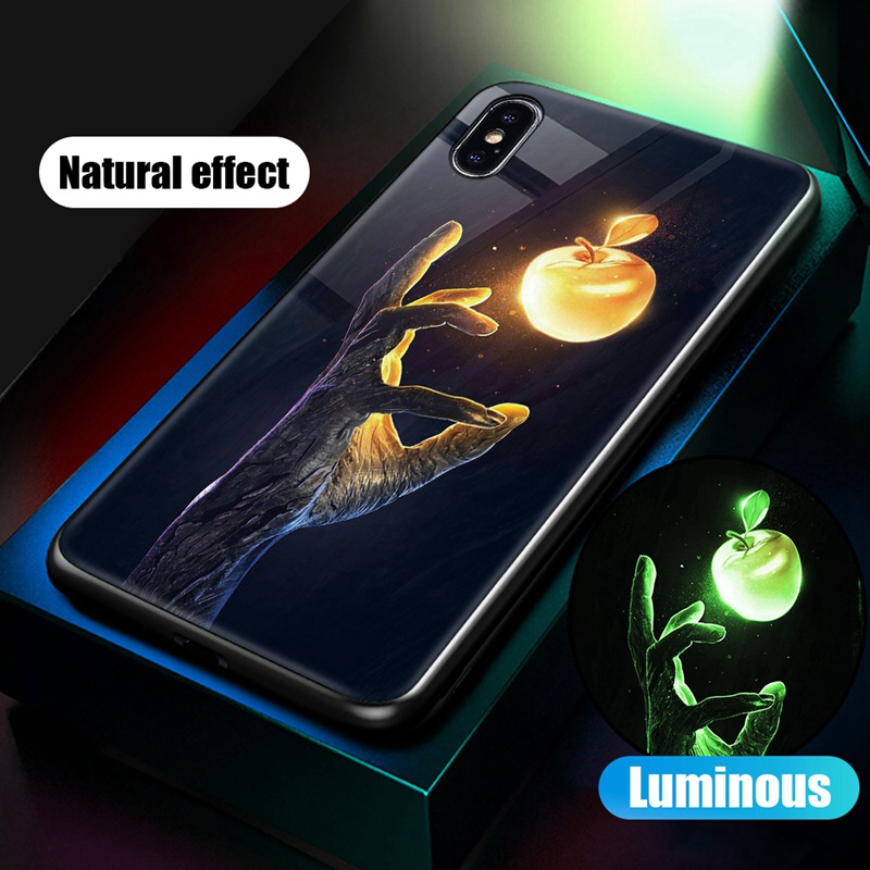 Luminous Case For iPhone X XS MAX Case For iPhone 7 6 s 8 Plus X 10 Luxury PC+Tempered Glass Pattern Silicone Edge Cover (30)