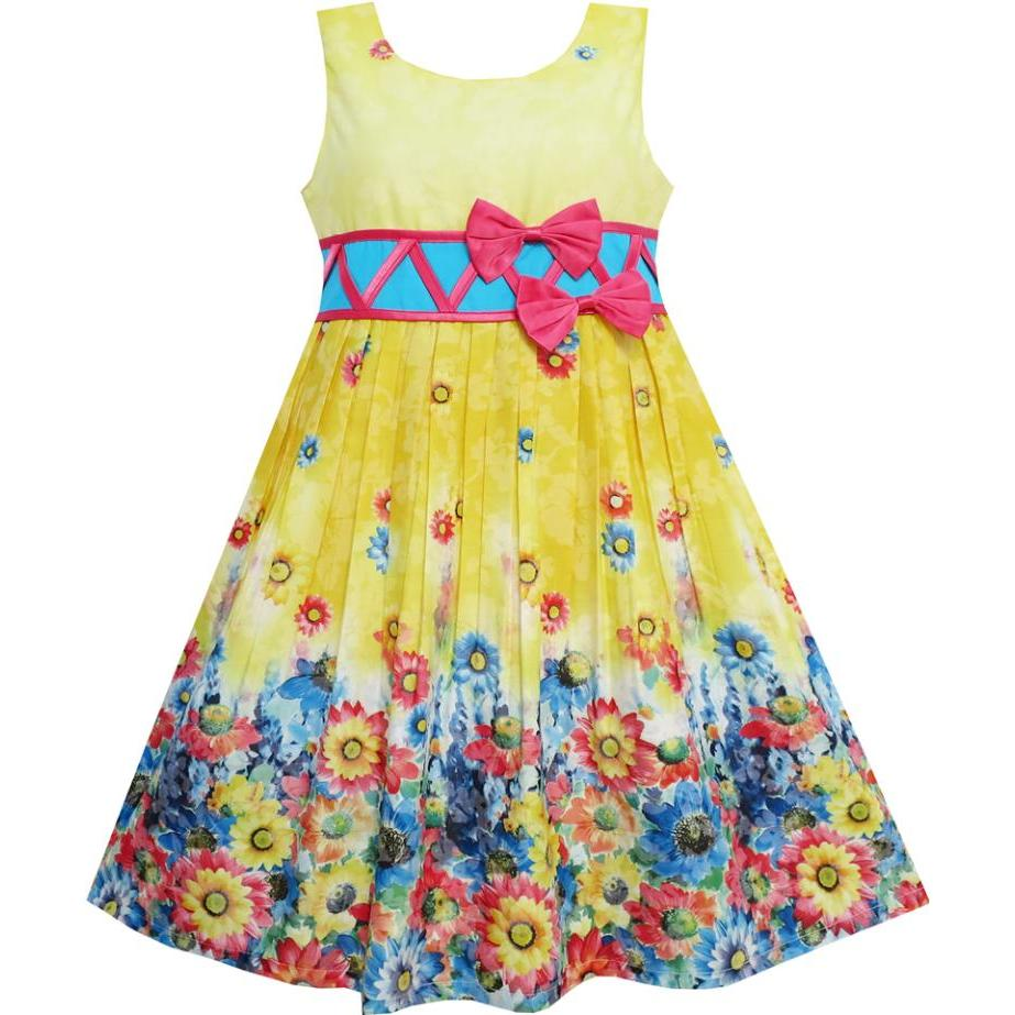 Sunny Fashion Girls Dress Sunflower Garden Flower Cotton Yellow 2018