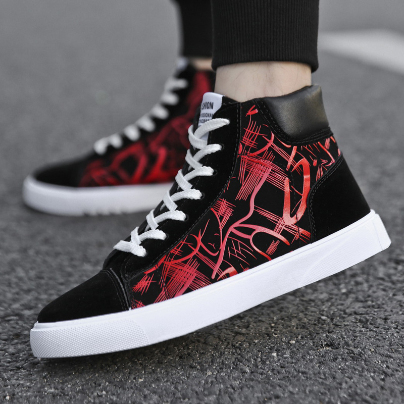 2019 popular men 39 s shoes fashion autumn and winter men 39 s leather shoes new high top canvas casual shoes men 39 s sports shoes in Men 39 s Casual Shoes from Shoes