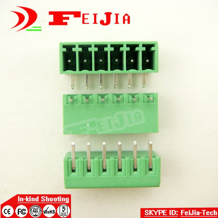 (50pcs/lot) 15EDG-3.5-6P Bend Pin PCB Screw Terminal Block Connector 3.5mm Pitch 6 Pins Plug in hot factory direct wholesale idc40 male plug 40pin port header terminal breakout pcb board block 2 row screw