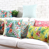Free Shipping Cute Animal Flamingo Flower Geometric Square Throw Pillow Almofadas Case 45 53 Colorful Cushion