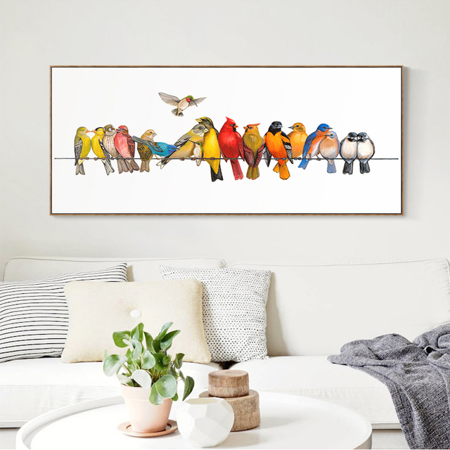 Large Art Canvas Decoration Bedroom Decor Colorful Birds Animal