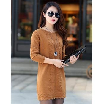 Women Sweaters Dress Pullovers 2019 New Winter Warm Long Knitted Sweater Knitwear Poncho Tunics Gray Black Beige Plus Size D005 3